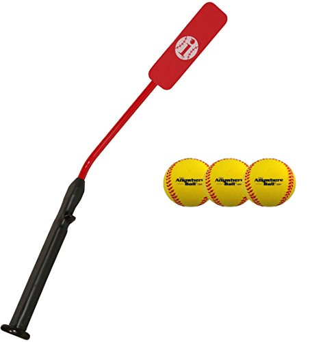 (Insider Bat Size 6 (Ages 12 and Under) & 3 Anywhere Ball Complete Baseball Softball Batting Practice Kit (1 Bat & 3 Balls))