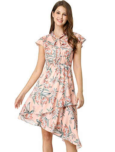 Allegra K Women's Ruffle Short Sleeves Tie V Neck Stretchy Waist Asymmetrical Layered Floral A-Line Dress M Pink