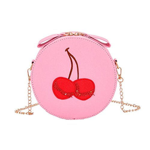 Theft Satchel Vintage Round Ladies Print Cherry Bag Handbags Purses Crossbody Backpacks Purse Girl Messenger VEMOW Bags Clutches Bags Anti Pink Shoulder Tote Strap Women wWwHY7qI