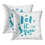 zebra snow brush - Emvency Set of 2 Blue Bright Lettering Let It Snow on Modern Inscription Labels Brush Celebrate Throw Pillow Covers 16x16 Inch Cover Pillowcase Cases Case Two Side