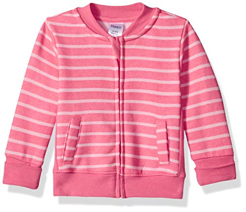 Hanes Ultimate Baby Zippin Fleece Jacket, Pink Stripes Print, 12-18 Months