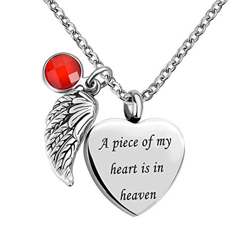 LuckJewelry Angel Wings Heart Cremation Urn Necklaces for Ashes Memorial Keepsake Pendant (Jul (Girl Angel Birthstone Charm)