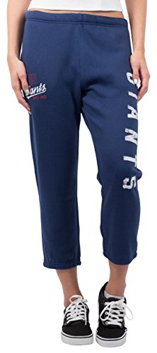 Blue Team Fleece Sweatpants - ICER Brands NFL New York Giants Women's Jogger Pants Capri Cropped Fleece Sweatpants, Small, Blue