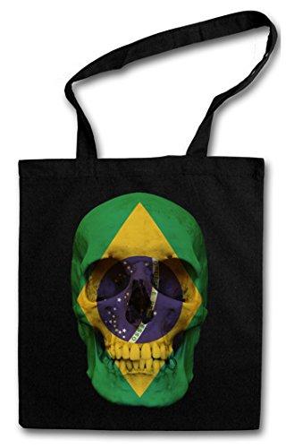 CLASSIC BRASILIA SKULL FLAG Hipster Shopping Cotton Bag Cestas Bolsos Bolsas de la compra reutilizables - Bandera cráneo Schädel Banner Fahne Brasilien Brasil