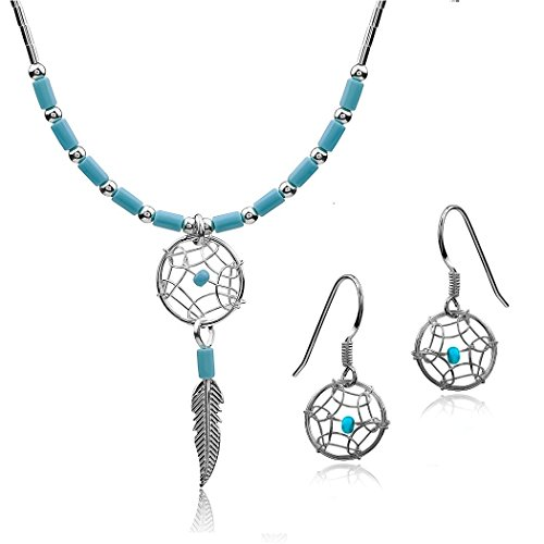 (Dream Catcher Sterling-silver 925 Turquoise imitation Necklace Earrings Set, 18