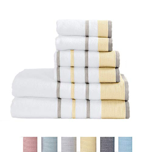 Great Bay Home 6-Piece Luxury Hotel/Spa 100% Turkish Cotton Striped Towel Set, 500 GSM. Includes Bath Towels, Hand Towels and Washcloths. Noelle Collection Brand. (Gold/Grey)