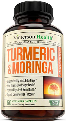 Turmeric Curcumin with Moringa Oleifera & Bioperine - Powerful Joint Pain Relief & Anti-Inflammatory Supplement with 95% Standardized Curcuminoids & 10mg of Black Pepper Extract - 60 Veggie Capsules.