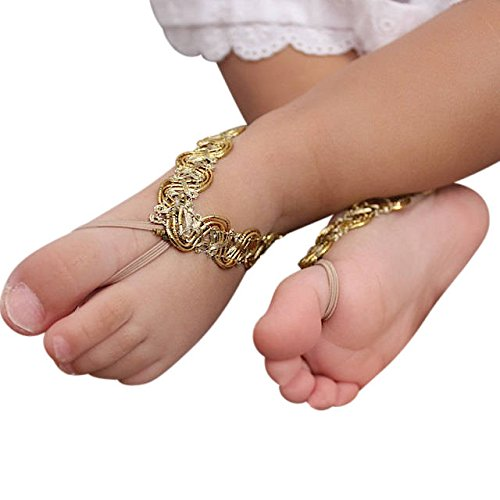 Handmade Gold Baby Barefoot Sandals by