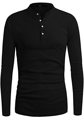 DANDYCLO Mens Henley Shirt Casual Long Sleeve button T-Shirt