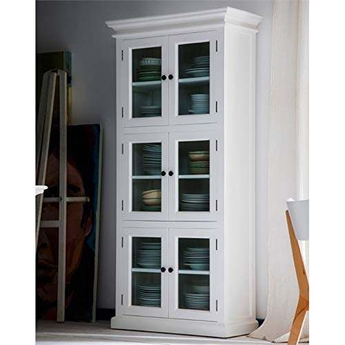 NovaSolo Halifax Pure White Mahogany Wood Storage Cabinet/Pantry Unit With Glass Doors And 6 Shelves