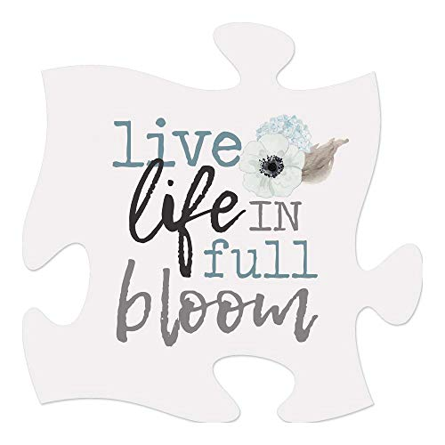 (P. Graham Dunn Live Life in Full Bloom Floral 6 x 6 Wood Decorative Mini Puzzle Piece Plaque)