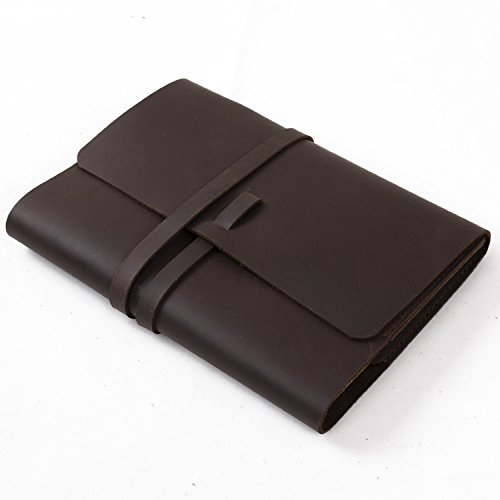 Classic Genuine Leather Handmade Diary Journal Notebook Sketchbook Refillable Composition Book Cover with Strap Closure - (Dark Brown & Lined Craft Paper A5) by C&N Studio