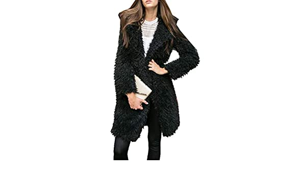 FSSE Womens Loose Fluffy Faux Fur Mid Length Trench Coat Jacket Outwear