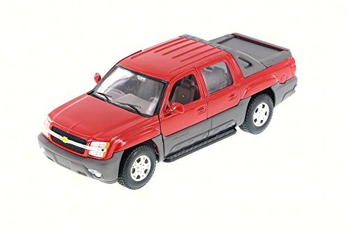 2002 Chevy Avalanche Pick Up Truck, Red - Welly 22094 - 1/24 Scale Diecast Model Toy Car