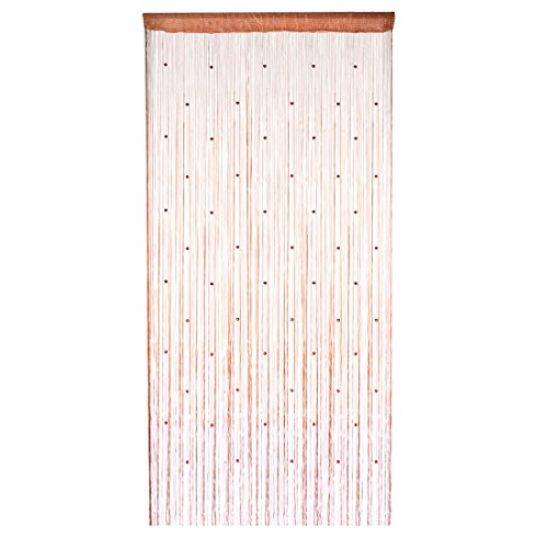 Hanging Bead Fringe (uxcell Window Doorway Hanging Bead Decorative String Fringe Curtain Valance 100 x 200cm Brown)