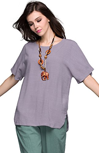 Anysize Linen Cotton T-Shirt Spring Summer Plus Size Clothing Y69