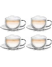 Creano Kubek termiczny z podwójnymi ściankami do herbaty/latte macchiato kubek do cappuccino z podstawką 250 ml, zestaw 4 sztuk