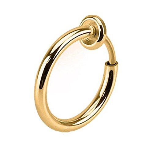 Clip on Fake Hoop Boby Nose Lip Ear Piercing Ring Stud Earring -