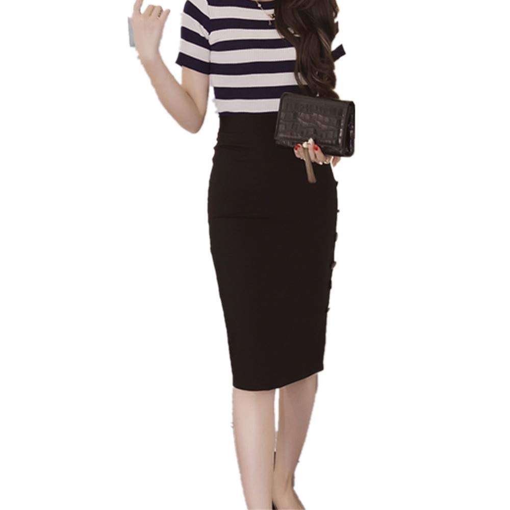 Womens Pencil Skirts Ladies Solid High Waisted Button Slit Office Skirt Wrap Skirt Multiple Plus Size (M, Black)
