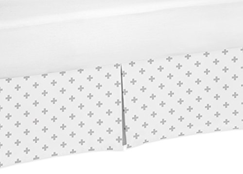 Sweet Jojo Designs Grey and White Swiss Cross Boy or Girl Unisex Pleated Crib Bed Skirt Dust Ruffle for Woodsy Collection (Cross Sweet)