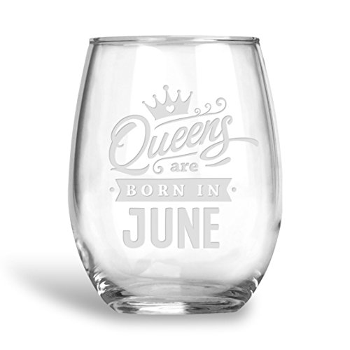(BadBananas Queens Are Born In June - Birthday 21 oz Engraved Stemless Wine Glass with Etched Coaster Gift for Gemini or Cancer)