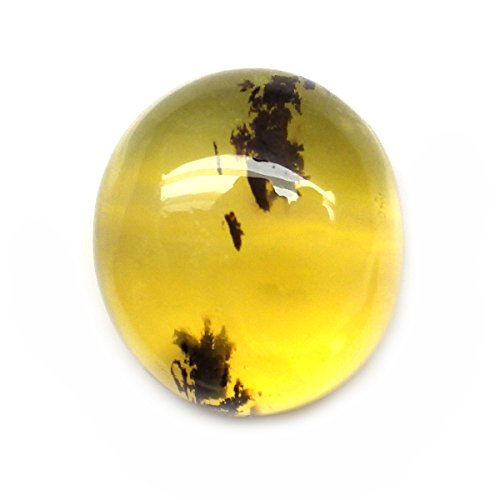 tural Oval Cabochon Yellow Dendrite Opal Loose Gemstone (3.55 Ct Natural)