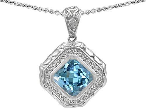 ut Simulated Aquamarine Bali Style Pendant Necklace Sterling Silver (Bali Style Star)