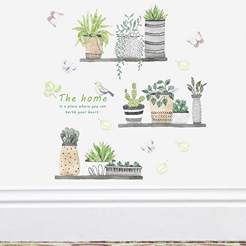 Green Plant Wall Decal Bonsai Flower Butterfly Cactus Wall Stickers DIY Mural Art Decoration for Living Room Bedroom… 5