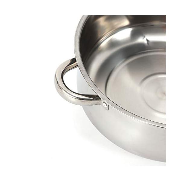 Generic - Pentola a vapore in acciaio INOX, 26 cm, coperchio in vetro, 5 strati con coperchio in vetro 3 spesavip