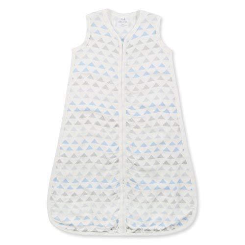 aden + anais Silky Soft Metallic Sleeping Bag, 100% Viscose Bamboo Muslin, Wearable Baby Blanket, Blue Moon Birch, Large, 12-18 Months