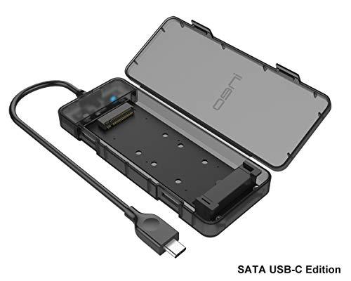 SATA M.2 SSD USB 3.1 Gen2 Enclosure, Portable NGFF External Adapter, SATA M2 SSD Case Memory Card Reader, SATA Hard Drive Memory Extension Converter Caddy Box, Tool-free, 10Gbps USB C plug