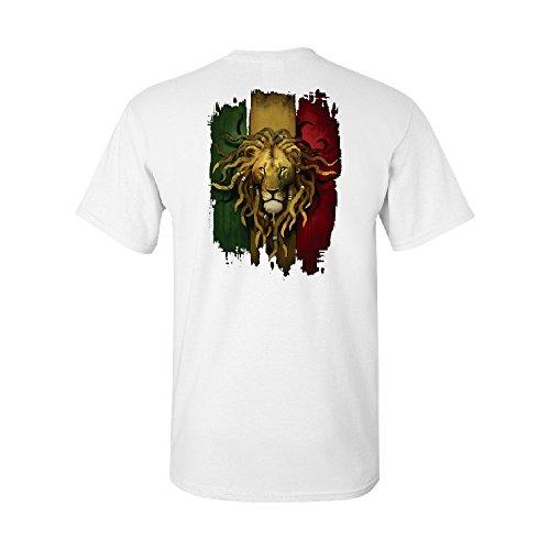 Zexpa Apparel Rasta Lion Rastafarian Haile Selassie Men's T-Shirt Fancy Fashion Tee White -