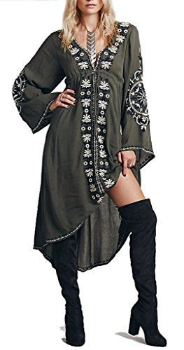 Buy embroidered cotton tunic dress - 7