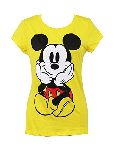 Bright Yellow T-shirt (Mickey Mouse Graphic Print Front Back Crewneck Short Sleeve T-Shirt (X-Large))
