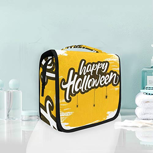 Makeup Bag Halloween Word Scary Spider Cosmetic Portable Travel Hanging Toiletry -