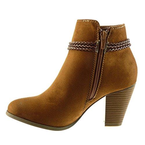 8 Haut Bottes Chaussures De Chameau Cavalier Cheville Mode Butin De Cm De Frange Angkorly Tressé Bloc Femmes Talon UqOaFF