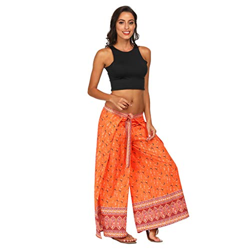 (Beyonds Women Loose Yoga Wide Leg Hippie Pants Travel Lounge Casual Beach Orange)