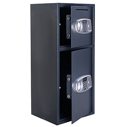 Digital-Double-Door-Safe-Security-Cash-Money-Jewelry-Gun-Book-Deposit-Drop-Slot-Lock-Box-With-Electronic-Combination-Lock-And-Keys-Home-And-Office-Use