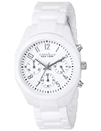 Bulova Caravelle New York  Women's 45L145 Analog Display Japanese Quartz White Watch