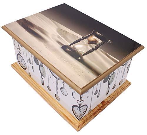 UrnsWithLove Wood Cremation Ashes Casket Urn, MDF and Teakwood Urn, Funeral Memorial Remembrance Urn (Hour Glass/Clocks)