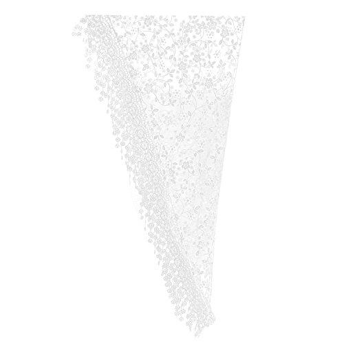- Gilroy Women Hollow Tassel Lace Floral Knit Triangle Mantilla Scarf Shawl - White