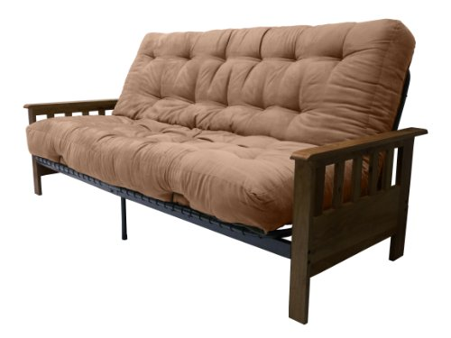 Portland 10-Inch Inner Spring Futon Sofa/Sleeper Bed, Full, Walnut Arms Suede Mocha Brown - Premium Outlet Portland Stores