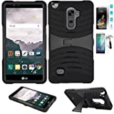Phone Case for LG Stylo 2 4g LTE Tempered Glass Screen Protector with Heavy Duty Armor Cover Black-Black Stand