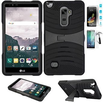 Phone Case for LG Stylo 2 4g LTE Tempered Glass Screen Protector with Heavy Duty Armor Cover Black-Black Stand (Verizon 4g Lte Smartphone Cases)