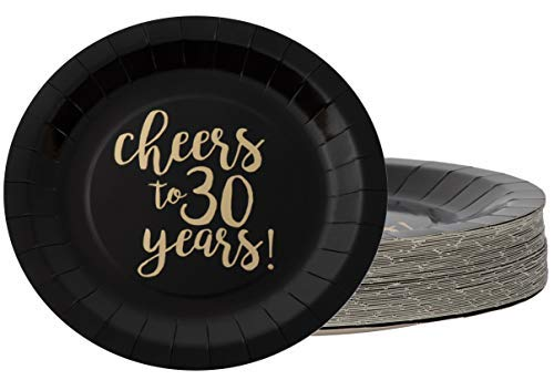 30th Birthday Plates And Napkins (Disposable Plates - 48-Count Paper Plates, 30th Birthday, Wedding Anniversary Party Supplies for Appetizer, Lunch, Dinner, Dessert, Cheers to 30 Years in Gold Foil Design, Black, 9 Inches)