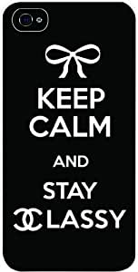 Keep Calm and Stay Classy White Hard Snap on Case Cover for Apple Iphone 4, Iphone 4 Universal: Verizon - Sprint - At&t - Great Affordable Gift!