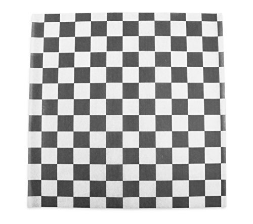 (CucinaPrime Food Basket Liner, 12 Inches by 12 Inches, 100 count, Black and White Checkered)