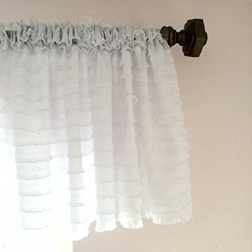 Ruffled Valance Curtain Extra Wide and Short Window Treatment Shabby Chic 1″ Ruffles Tier Sheer and Wrinkle Free Great for Kitchen Living Dining Room Bathroom Kids Girl Baby Nursery Bedroom White