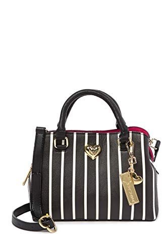 Betsey Johnson Black White Reverse Stripe XOXO Betsey Heart Charm Detachable Charm Triple Entry Satchel Shoulder Bag ()