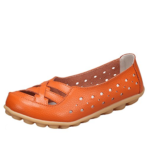 Vogstyle Damen Neu Hohl Mokassins Flach Loafer Slipper Schuhe Style 2-Orange